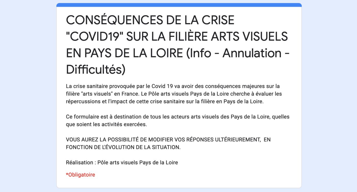 Covid-19 — Pôle Arts Visuels Pays de la Loire
